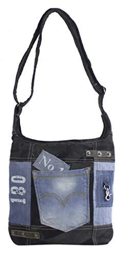 Sunsa Damen Tasche Umhängetasche Handtasche Canvas & Leder Bag mit Jeans Taschen Denim klein Schultertasche Damentaschen Vintage Crossbody Handtaschen Teenager Fashion Sale Lederhandtasche schwarz