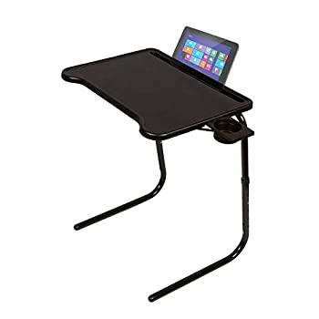 Table Mate Ultra Folding TV Tray Table and Cup Holder Adjustable to 6 Heights and 3 Angles with Device Holder  Black