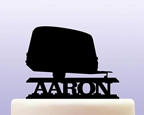 Gepersonaliseerde Acryl Caravan Travel Trailer Cake Topper