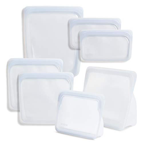 Stasher Platinum Silicone Food Grade Reusable Storage Bag, Clear (Bundle 7-Pack) | Reduce Single-Use Plastic | Leakproof, Dishwasher-Safe, Eco-friendly, Non-Toxic