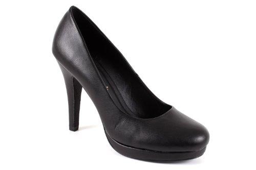 Elegante Pumps aus schwarzem Lederimitat für Damen/Mädchen mit 10,0 cm Absatz, Plateau und runder Spitze – Hohe Schuhe/High-Heels – AM554 – EU 35