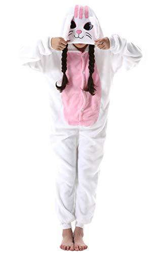 Jumpsuit Onesie Tier Fasching Karneval Halloween Kostüm Kinder Mädchen Junge Sleepsuit Overall Pyjama Unisex Lounge Cosplay Schlafanzug Weiß Katze for Höhe 90-148CM