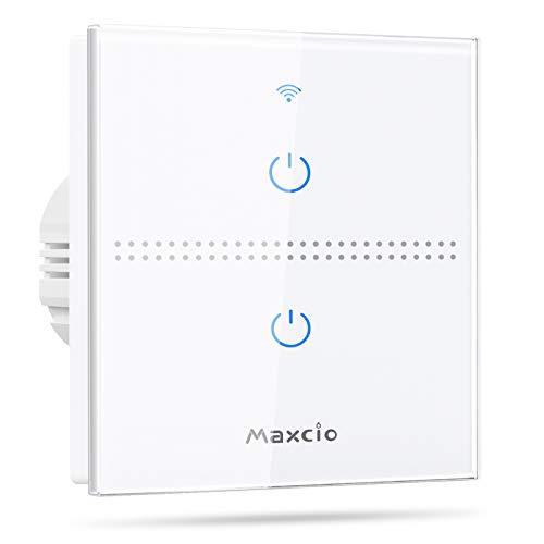 Interruptor Luz WiFi, Maxcio Interruptor Inteligente 2 Gang...