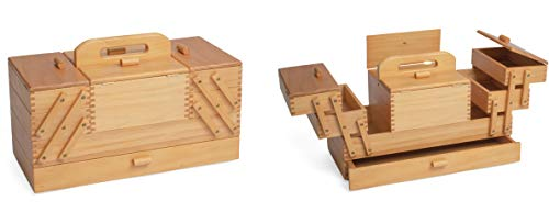 Price comparison product image Sewing Box 4 Tier Large Light Wood Cantilever