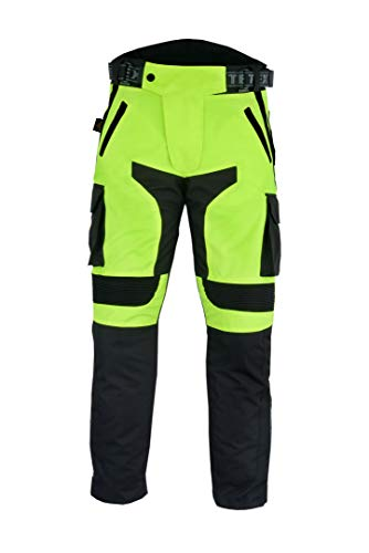 Texpeed - Herren Motorradhose mit CE-Protektoren - wasserdicht - Schwarz & Neongelb - Textil - Alle Größen