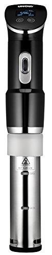 UNOLD Stick Time Sous Vide Garer para Todas Las ollas a Partir de 18 cm de Altura, precisión de Temperatura de 0,2 °C, Ajustable de 0 a 95 °C, hasta 20 l de Agua, 1300 W, Acero Inoxidable/Negro
