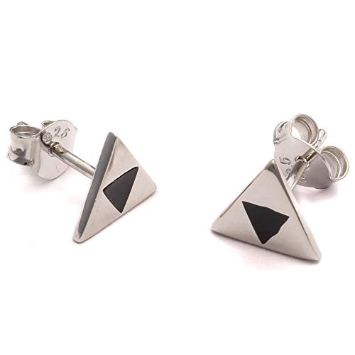 Geek Gaming Ohrstecker, 925 Sterling Silber, dreifach Dreieck Ohrring, Nerd Schmuck