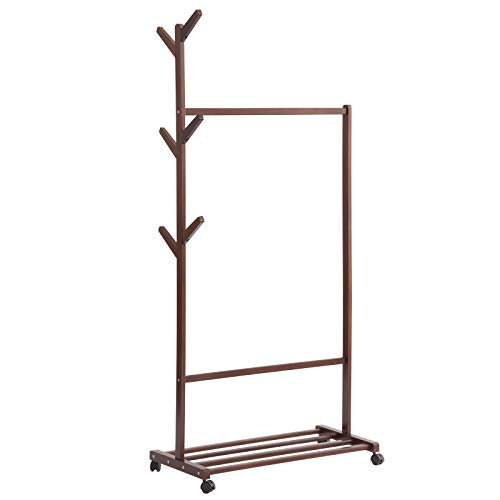 IBUYKE Single Rail Wood Garment Rack with 6 Side Hook Tree Stand Coat Hanger, Simple Clothing Standard Rod Multifunction 3 in 1 with Wheel and Bottom Shelves-for Balcony and Bedroom Brown RF-1150