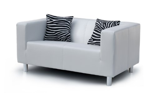 Collection AB 2-Sitzer Sofa Cube 135 x 85 x 65 cm, PU, weiß