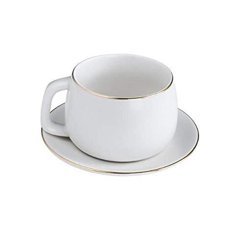 QQYG 1 Juego de Taza y platillo de cerámica nórdica con Cuchara Té de la Tarde Taza de café con Leche Taza de Agua Teaset-White_Set_with_Spoon
