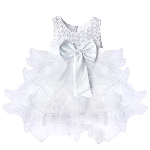 Freebily Baby Mädchen Kleid festlich Kleinkind Prinzessin Kleid Hochzeit Blumenmädchen Kleider Partykleid Kommunionskleid Taufkleider Weiß 74-80