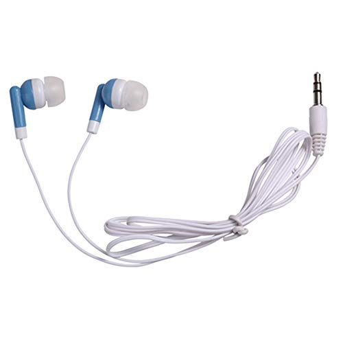 Wholesale Bulk Earbuds Headphones Individually Bagged 100 Pack for iPhone, Android, MP3 Player (Blue)