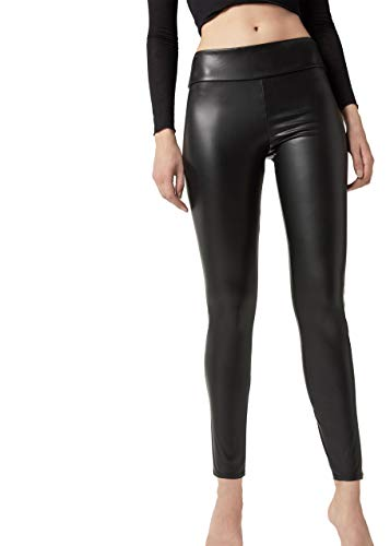 Calzedonia Damen Warme Leder-Effekt-Leggings