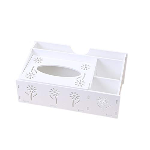 Organizador de Escritorio Multifuncional Titular de Control Remoto lápiz Tijera contenedor Caja de pañuelos (Blanco)