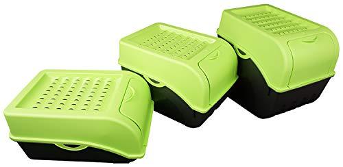 Novaliv Kartoffel Aufbewahrungsboxen Set | 3,5L + 5L + 9L | GRÜN | Kartoffelboxen | Gemüseboxen stapelbar Zwiebelboxen Kartoffelkörbe Obstbehälter Kartoffelkisten Frischhaltedosen