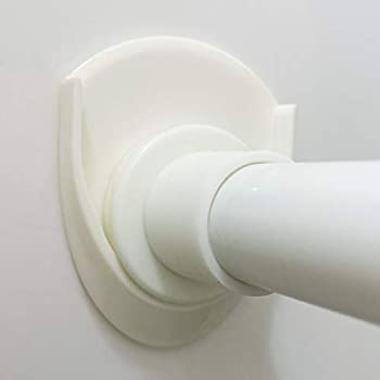 Venupple Shower Curtain Rod Holder Adhesive Shower Tension Rod Bracket No Drilling Rod Retainer with Strong Adhesive Shower Rod Holder | Shower Curtain Rod not Included  Ivory