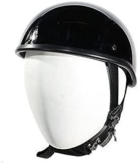 SOA Beanie Novelty Shiny Black Motorcycle Half Helmet Cruiser Biker S,M,L,XL,XXL (L, BLACK)
