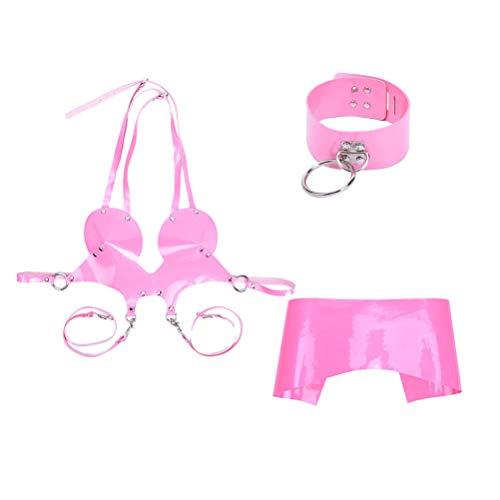 Exceart unter Matratze Fesseln Bh Rock Choker Kragen Set Leder Choker Kragen Bondage Käfig Bh Sex Rollenspielzeug (Pink)