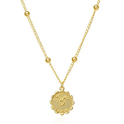LISI Halskette Anhänger in 12 Konstellation, Schmuck Schlüsselbeinkette in Yen-Münzen, Geburtstagsgeschenk für Damen Mädchen Gewicht 5g Kettenlänge 40 + 7cm (15 + 3Zoll),Taurus