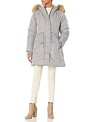 Jessica Simpson Women's Parka Jacket, Sherpa Hood Ice Grey, M by Jessica Simpson