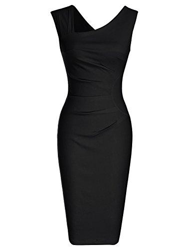 MUXXN Women's Classic Retro Asymmetrical Neckline Pleated Waist Bodycon Dress (3XL, Black)