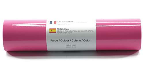 Selbstklebende Plotterfolie Vinylfolie 21 cm x 3 m glänzend 39 Farben zur Auswahl, Farbe:Pink