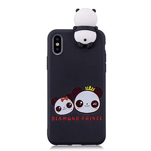 Funda protectora ultrafina de panda de dibujos animados en 3D para iPhone SE 2020, adecuada para iPhone 11 Pro Max X Xs Xr 7 8 Plus 6 6s 5 5s Funda de silicona