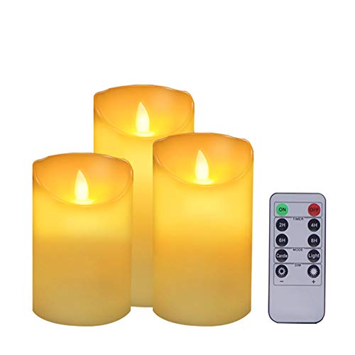 ACROSS Flickering Flameless Candles Battery Operated Candles, Set of 3(H4'5'6'xD3.1')Real Wax Realistic Dancing Wick Led Pillar Candles with Remote Timer for Outdoor Halloween Christmas Wedding Party