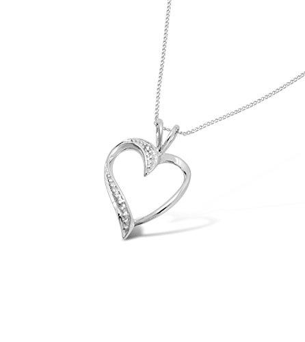 Herzförmiger Diamantanhänger mit Halskette in Weißgold.