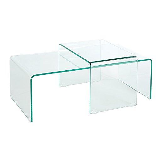 Invicta Interior Hochwertiges 2er Set Glas Couchtisch FANTOME transparent Glastisch Satztische Tische Glas Wohnzimmertisch
