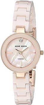 Anne Klein Women's AK/2660LPRG Diamond-Accented Bracelet Watch