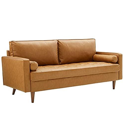 Modway Valour Vegan Leather Tufted Sofa, Tan