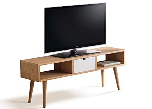 Argos-Mesa televisión, Mueble TV salón diseño Vintage, Cajón y Huecos, Madera Maciza Natural. 110 x 40 x 30 cm.