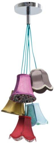 Kare Design Hängeleuchte Saloon Flowers 5, moderne Pendelleuchte im Retro-Stil, Design Wohnzimmerlampe mit bunten Lampenschirmen und Blumenmuster, Landhausstil, (H/B/T) 92x45x45cm