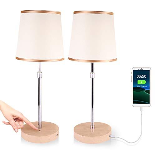 JOWHOL Juego de 2 lámparas de mesita de noche táctiles, lámparas de mesa LED regulables, lámpara de mesa con USB, para dormitorio, salón