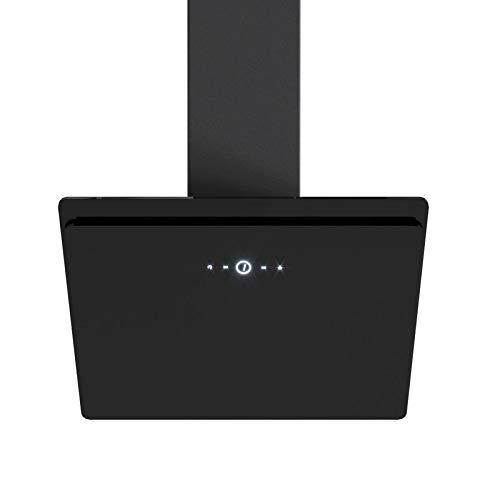 VLANO MIRA 60 BK EEK A+ Kopffreie Dunstabzugshaube 60 cm Wandhaube kopffrei schwarz Glas Touch Control ECO LED Brushless Motor (MIRA 60 cm schwarz mit Aktivkohlefilter Umluft Set)