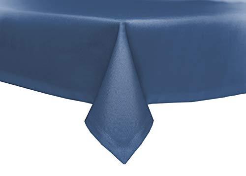 Trädgårdsbord linne optik lotuseffekt tyg fläckskydd strykfri bordsduk (90 x 90 cm, blå)