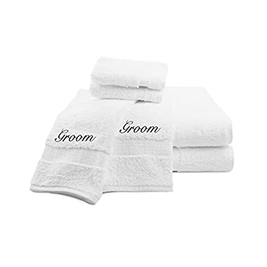 Luxor Linens Signature Egyptian Cotton 6-Piece Turkish Towel Set with Couple's Embroidery - Perfect Wedding Gift! (Black Monogram, Groom/Groom)