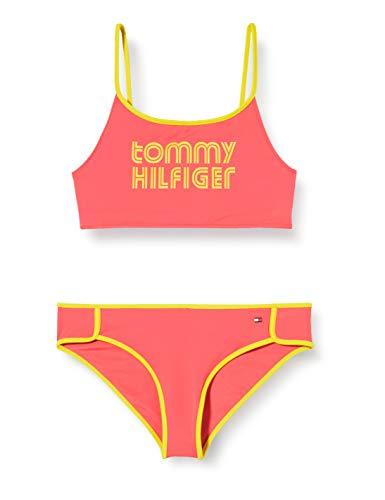 Tommy Hilfiger Mädchen Bralette Bikini-Set, Grün (Laser Pink), 12-13 jahre (Size:12-14)