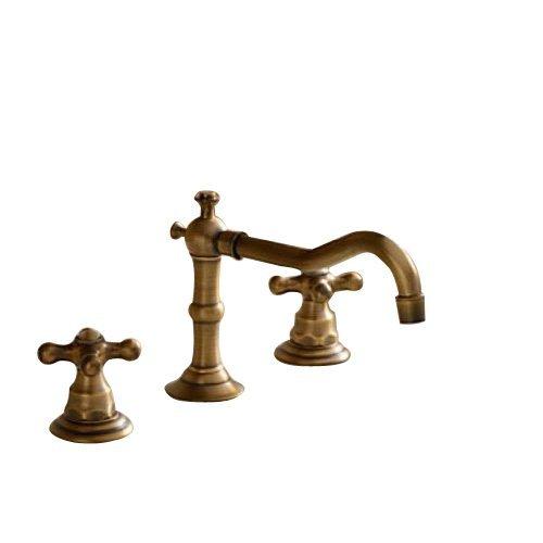 Rozinsanitary classico rubinetto miscelatore per lavabo in ottone anticato doppia maniglia