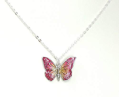 Children's Pink and Yellow Butterfly Necklace