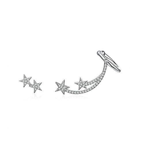XCWXM Orecchini Donna Orecchini A Bottone Asimmetrici Cometa Stella per Donna Gioielli in Argento Sterling 925 con Brillanti Orecchini A Bottone A Forma di Meteora con Brillanti Cz A