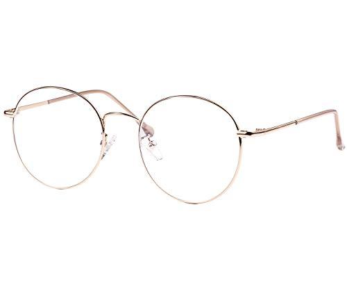 ROSA&ROSE Blaulichtfilter Brillen Computer Gaming Brillen Anti Müdigkeit Lesebrille für Herren Damen – UV-Schutz (gold