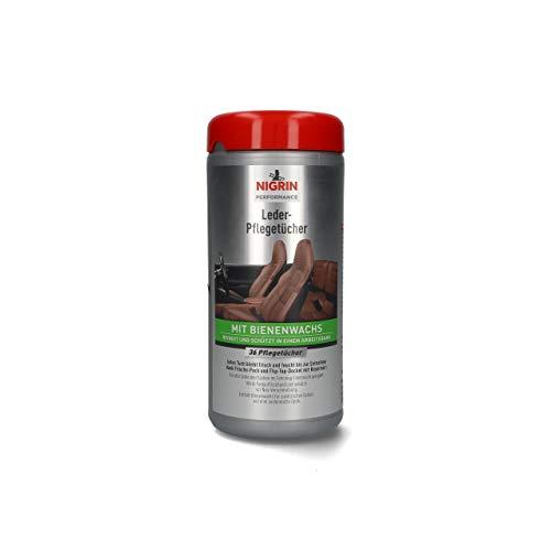 NIGRIN Leder-Pflege-Tücher für Auto Lederpflege, mit Bienenwachs, pflegt das Leder und verhindert austrocknen, 36 Stück