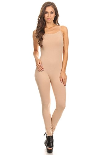 Women's Camisole Stretch Cotton Catsuit Unitard Bodysuit (&Plus Size) (3XL-Large, Natural)