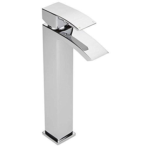 Hudson Reed Waschtischarmatur Wick Extra - Hohe Armatur für Wascbecken - Moderne Einhebel-Mischbatterie in Chrom - Perfekt für Aufsatzwaschbecken