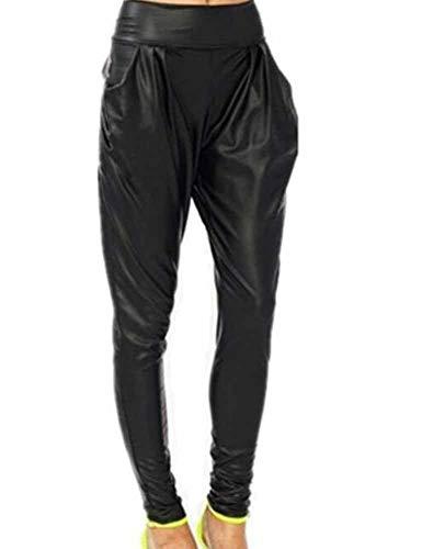 Babao Womens zwart imitatieleer legging broek hoge taille broek