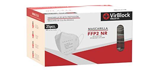 VB Xiangying VirBlock Mascarilla FFP2 CE2163, Mascarilla de Protección Personal. 5 capas. Mascara KN95 Alta Eficiencia Filtración, Caja 25 Unidades