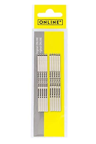 10x Mini-Kugelschreiber Ersatzminen von Online, Internationale Standard D1 Minen, Strichstärke M, dokumentenecht, Set Kugelschreiberminen, Schreibfarbe schwarz