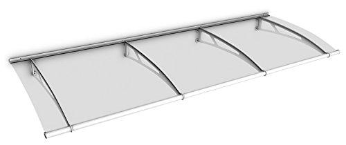 Schulte Vordach 270x95 cm Haustür Überdachung Stahl weiß rostfrei Acrylglas durchgehend und transparent Pultvordach LT-Line
